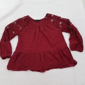 Sanctuary Top L Lace Red Long Sleeve Long Sleeve F